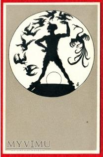 Otto Stieffel Walpurgisnacht Postkarten Witch Devil postcards - sylwetki