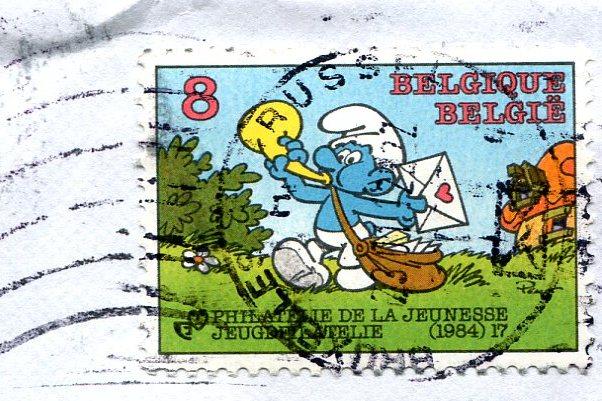 Smerf listonosz znaczek Belgia
