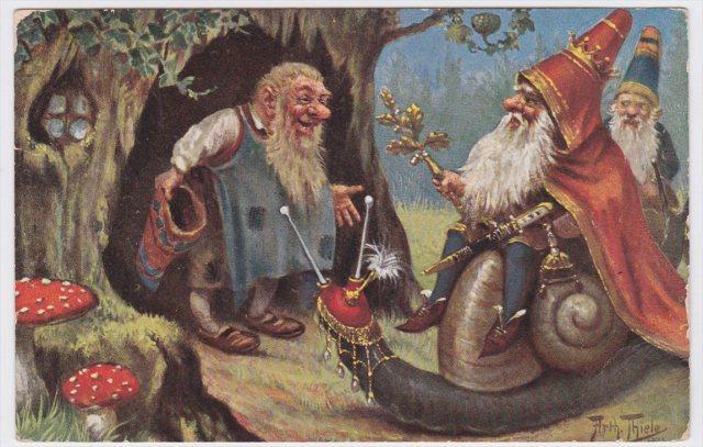 Dwarf Riding Snail Arthur Thiele 1909 Artist Signed Postcard | eBay