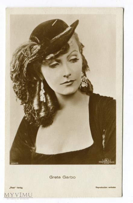 Greta Garbo na starej pocztówce fotograficznej