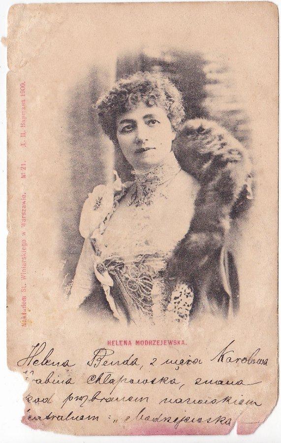 Helena Modrzejewska na starej karcie pocztowej
