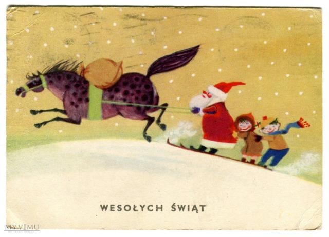 Wesołych Świąt, projekt. Leonia Janecka, 1962