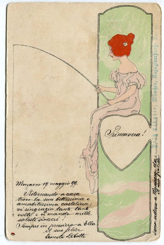Raphael Kirchner dziewczyna z wędką 1899