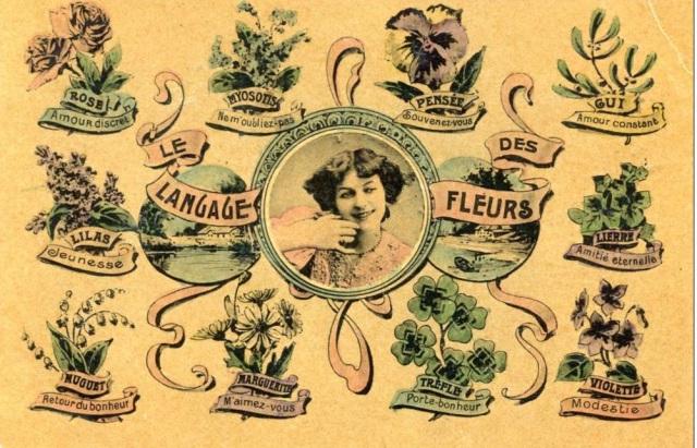Langage de fleurs, mowa kwiatów na starej pocztówce francuskiej ((fot. Riksar, delcampe.net))