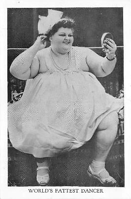 Baby Thelma - najgrubsza tancerka świata , stara pocztówka z USA (fot. oldpostcards.org)