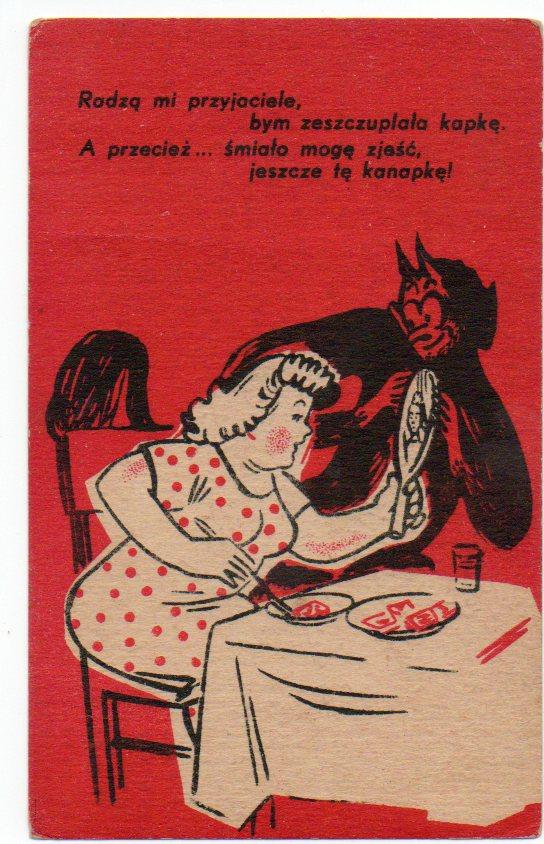 vintage devil postcard from Poland