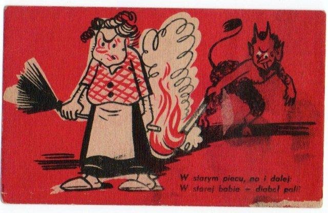 pocztówka humorystyczna z diabłem, przedwojenna