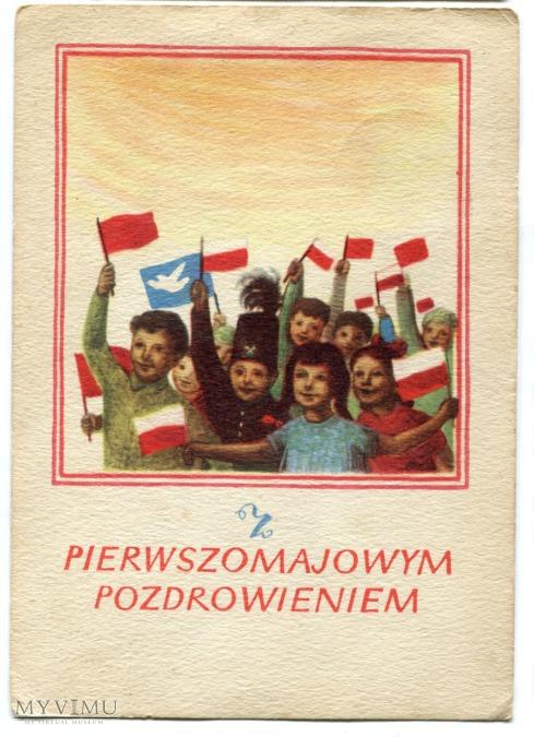z pierwszomajowym pozdrowieniem, polska pocztówka na 1 Maja