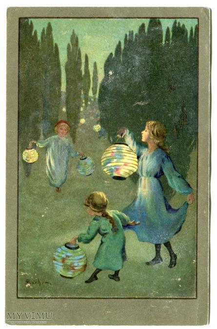 Sybil Barham Dzieci z lampionami, stara pocztówka