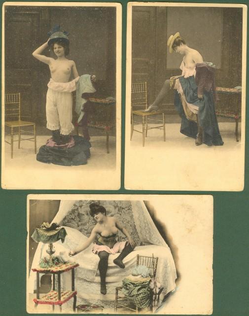 trzy pocztówki o tematyce erotycznej, 60 EUR, pocztówka fot. lacasadelcollezionista.it