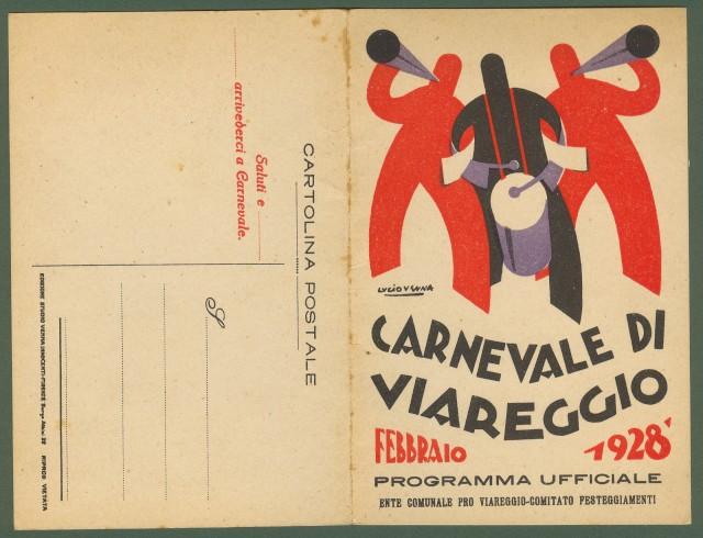 Karnawał Viareggio 1928, 450 EUR, pocztówka fot. lacasadelcollezionista.it