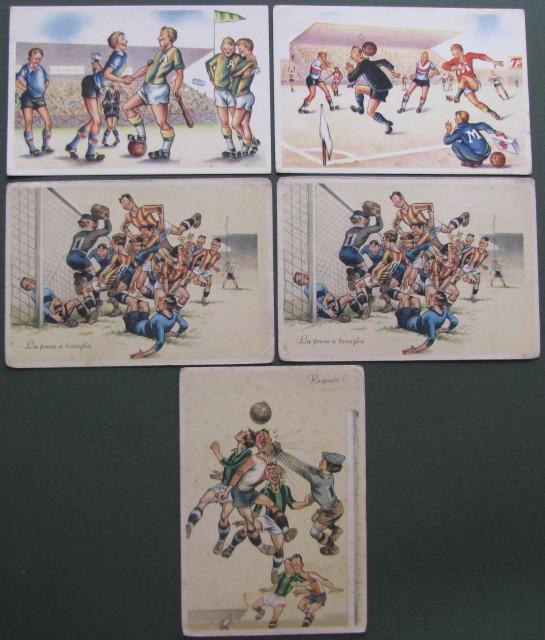 humorystyczne pocztówki, piłka nożna, 8 EUR, pocztówka fot. lacasadelcollezionista.it