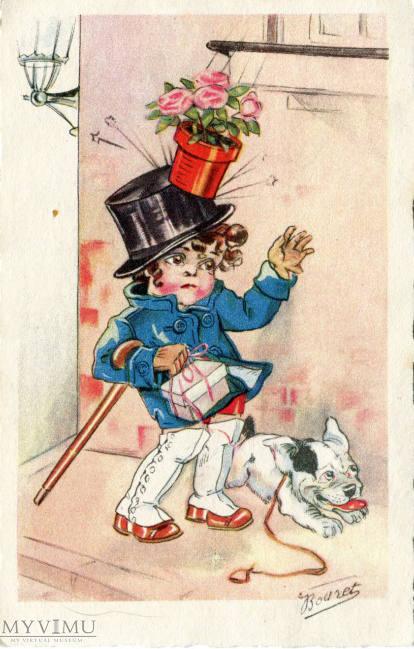 wczesna pocztówka autorstwa artystki, którą kocha cała Francja - Germaine Bourret, przed 1928