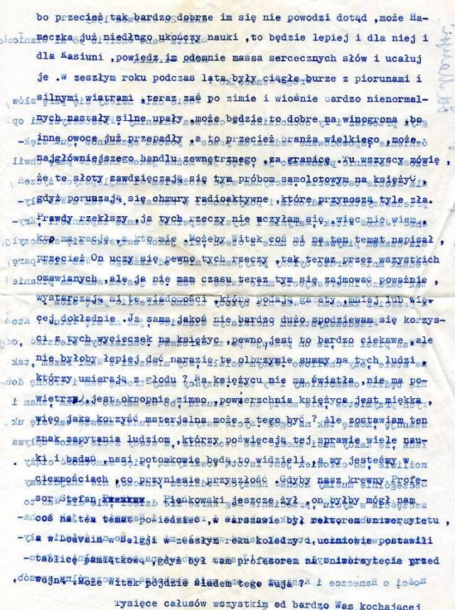 list pisany na maszynie, połowa lat 1960-tych