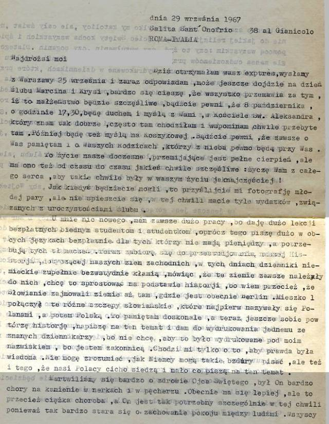 list z Włoch, 1967 rok