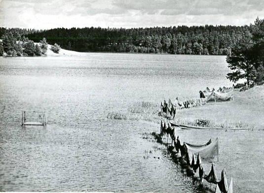 Jezioro Garcz, pocztówka fotograficzna, RUCH, ok. 1961 roku
