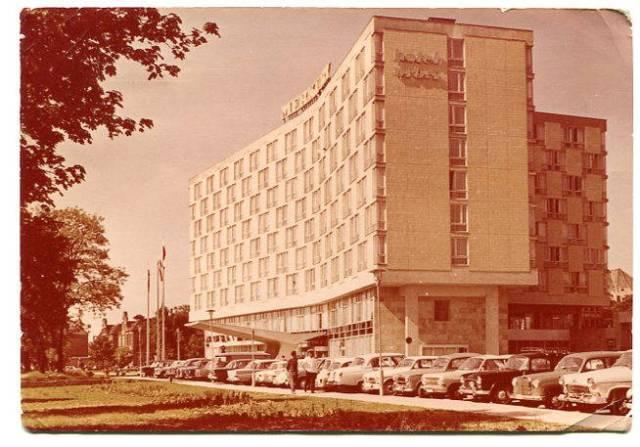 Hotel MERKURY - Poznań,  Pocztówka fotograficzna nadana w  1965 roku, RUCH