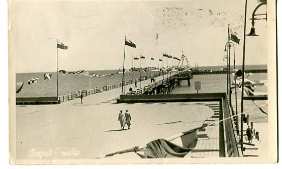 Sopot - molo, kartka fotograficzna, 1956,