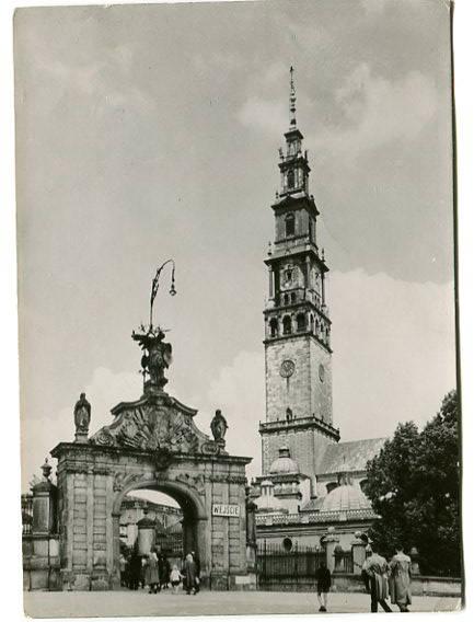 Klasztor na Jasnej Górze, Częstochowa, pocztówka obiegowa z 1959 roku, fotograficzna, Polskie Towarzystwo Turystyczno Krajoznawcze