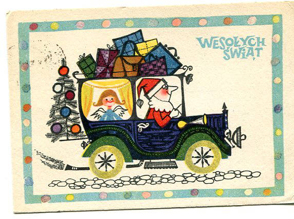 Wesołych Świąt, pocztówka świąteczna ze Świętym Mikołajem, autor: Danuta Imielska, RUCH, 1962