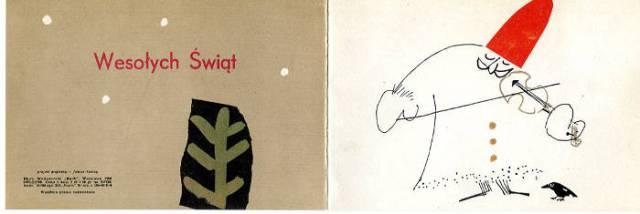 Wesołych Świąt, kartka rozkładana artystyczna, autor: Janusz Stanny, RUCH 1966
