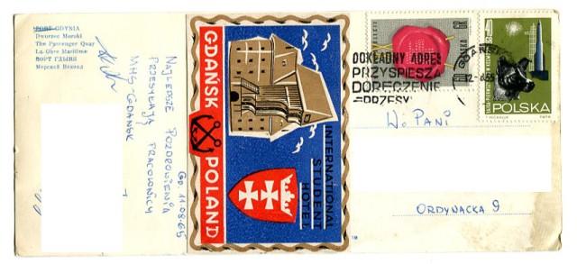 (rewers) Gdynia, Statek Batory, pocztówka fotograficzna, 1965