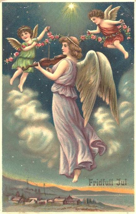 Anioł - pocztówka szwedzka