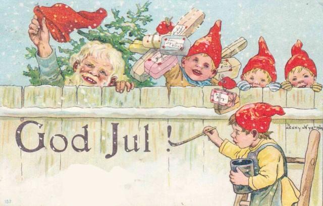 God Jul - krasnale na starej, szwedzkiej pocztówce, autorka Jenny Nyström