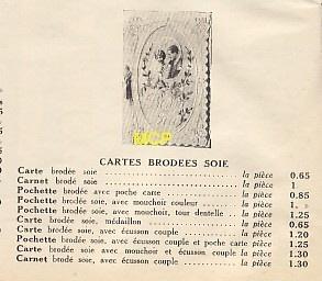 cennik kart pocztowych haftowanych (fot. museedelacartepostale)