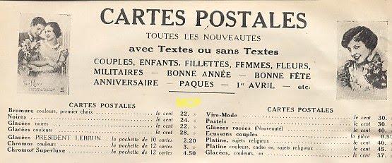taryfikator dla kart pocztowych sprzedawanych po 100 sztuk w 1933 roku.