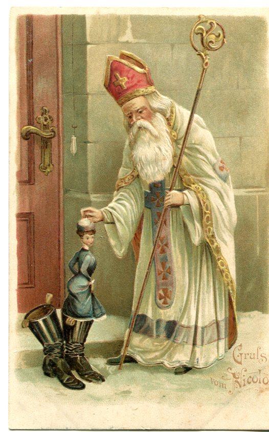 Chromolitograficzna pocztówka z początku XX wieku - Święty Mikołaj (obieg, Galicja)