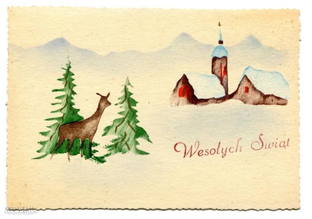 Ręcznie malowana kartka z czasów PRL, ok. 1950-1970