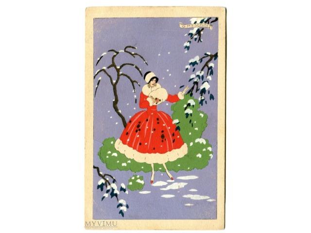 """Giovanni Meschini, włoska pocztówka malowana ręcznie, """"pochoir"""""""