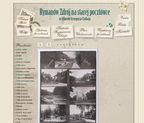 Rymanów Zdrój na starej pocztówce (zrzut ekranu strony  rymanow-zdroj.pl )