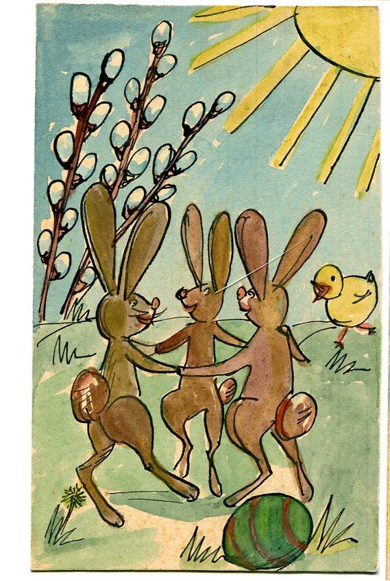 Ręcznie robiona kartka pocztowa z czasów PRL - zajączki
