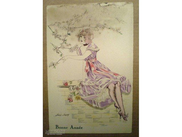 """Xavier Sager, 1919, pocztówka z cyklu  """"Paryskie fantazje w akwareli"""""""