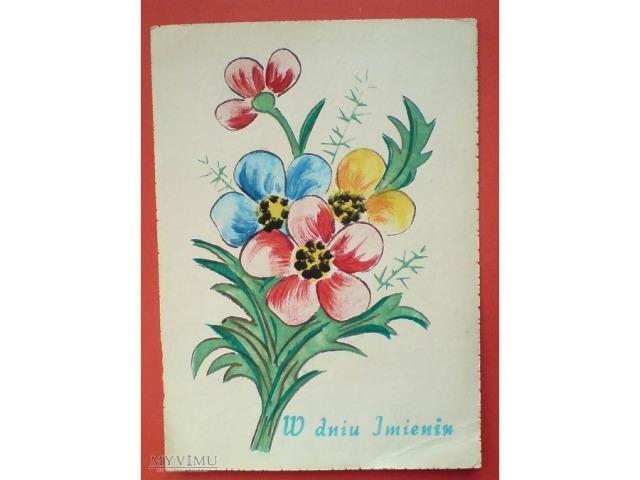 Karta ręcznie malowana, Imieninowa, koniec lat 1960-tych