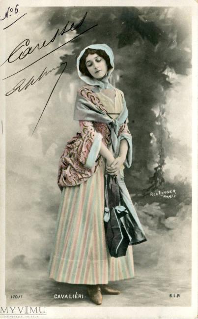 Lina Cavalieri - najpiękniejsza kobieta świata na dawnej pocztówce