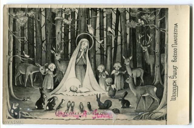 Polak potrafi :) PRL-owski przedruk oryginalnej niemieckiej pocztówki z ilustracją Katrin Höngesberg