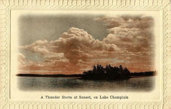 pocztówka ok. 1911, zachód słońca Island Thunder Storm At Sunset Lake Champlain
