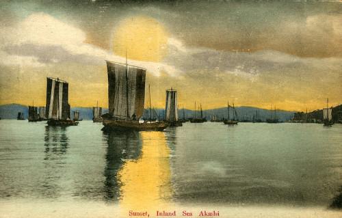 piękna japońska pocztówka  z początku XX wieku, Zachód słońca Inland sea akashi