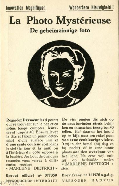 Marlene Dietrich,  La photo Mystérieuse, Patent Burtec, 19 rue Potagère, Belgium Bruxelles