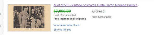 Marlene Dietrich i Greta Garbo - sprzedaż pocztówek na Ebay