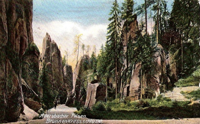 Skalne Miasto Adršpach na starej pocztówce