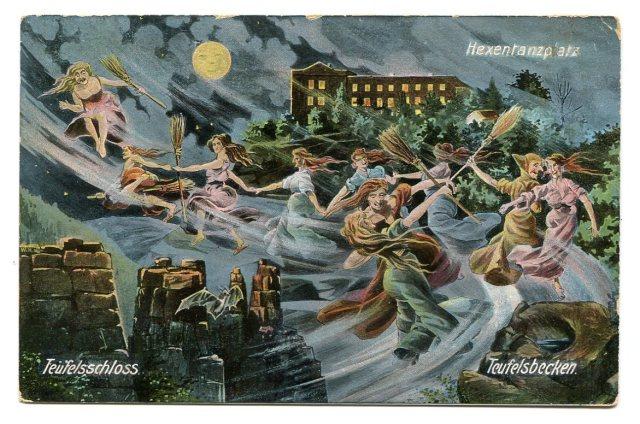 Czarownice i Noc Walpurgii, stara pocztówka