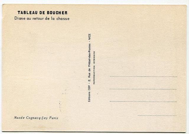 Diane au retour de la chasse Francois Boucher Carte Maximum Musee Cognac-Jay Paris, Editions CEF-2, Rue de hotel de postes Nice