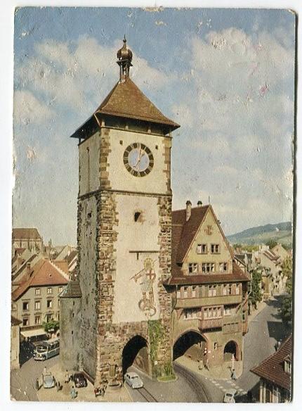 Freiburg im Breisgau - Schwabentor, Gebr.Metz. Tuebingen Farbkarte nach Agfacolor-Aufnahme