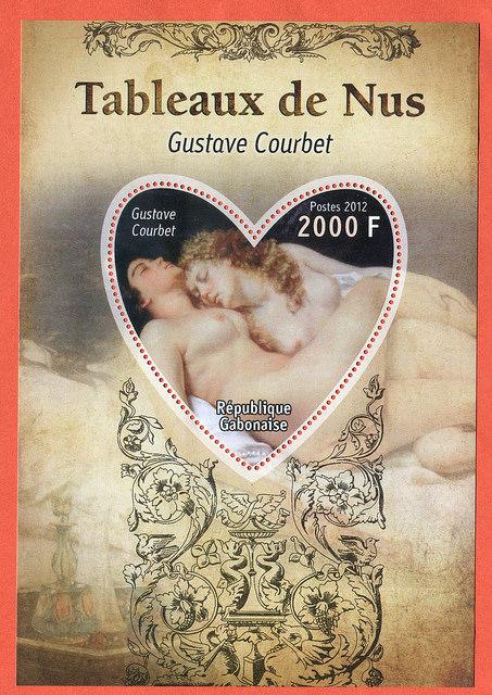 Gustave Courbet na znaczku z Gabonu, cykl Tableaux de Nus (Akty w malarstwie)