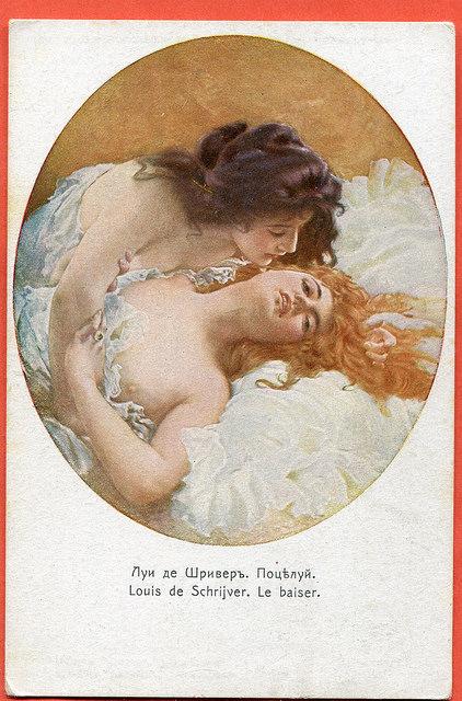 Louise de Schrijver , pocałunek, (Le Baiser ), stara pocztówka rosyjska c. 1916