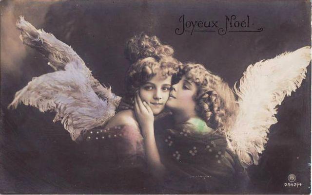 Rotophot Stara pocztówka - pocałunek aniołów